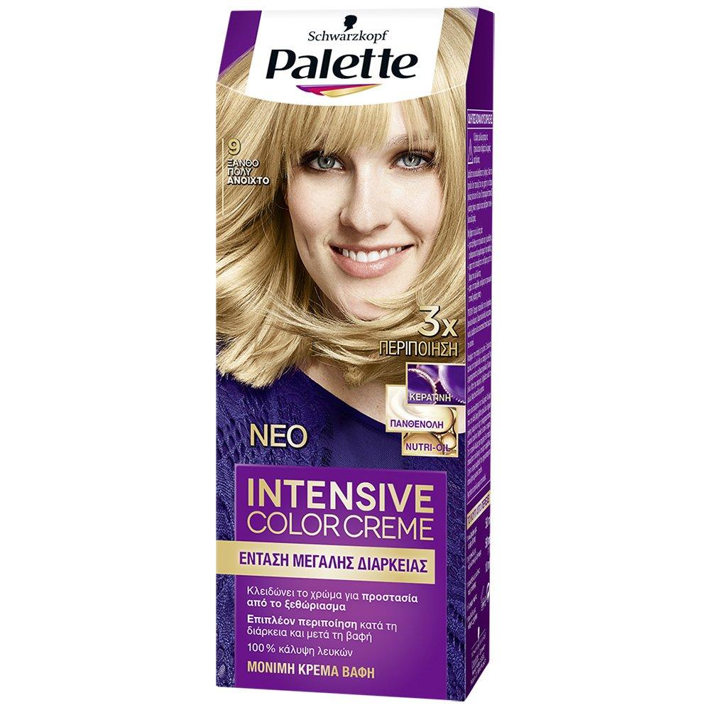 Schwarzkopf Palette Intensive Color Creme Επαγγελματική Μόνιμη Κρέμα Βαφή Μαλλιών, Απόλυτη Κάλυψη & Αποτέλεσμα Διάρκειας – 9 Ξανθό Πολύ Ανοιχτό