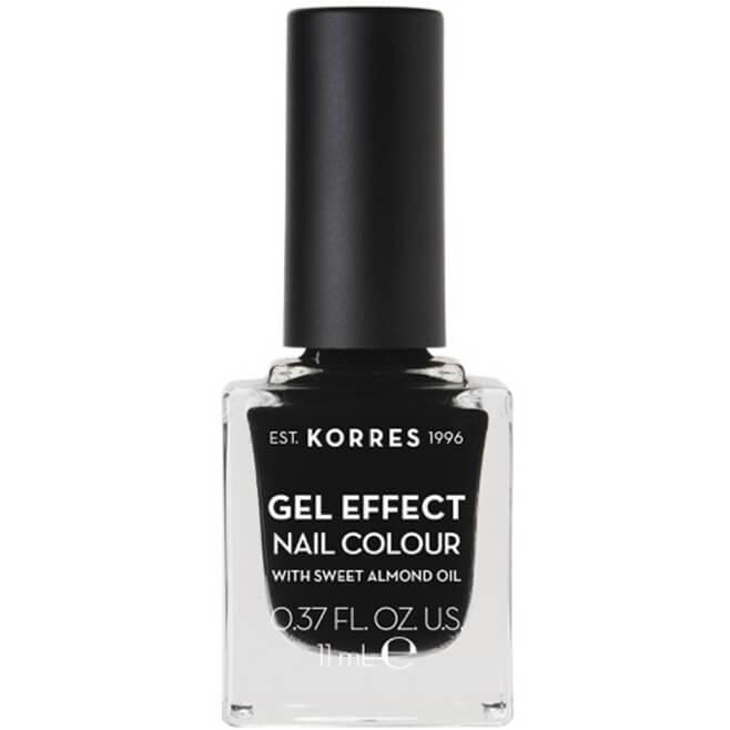 Korres Gel Effect Nail Colour Βερνίκι Νυχιών Απόλυτης Λάμψης & Διάρκειας, με Αμυγδαλέλαιο 11ml – Black 100