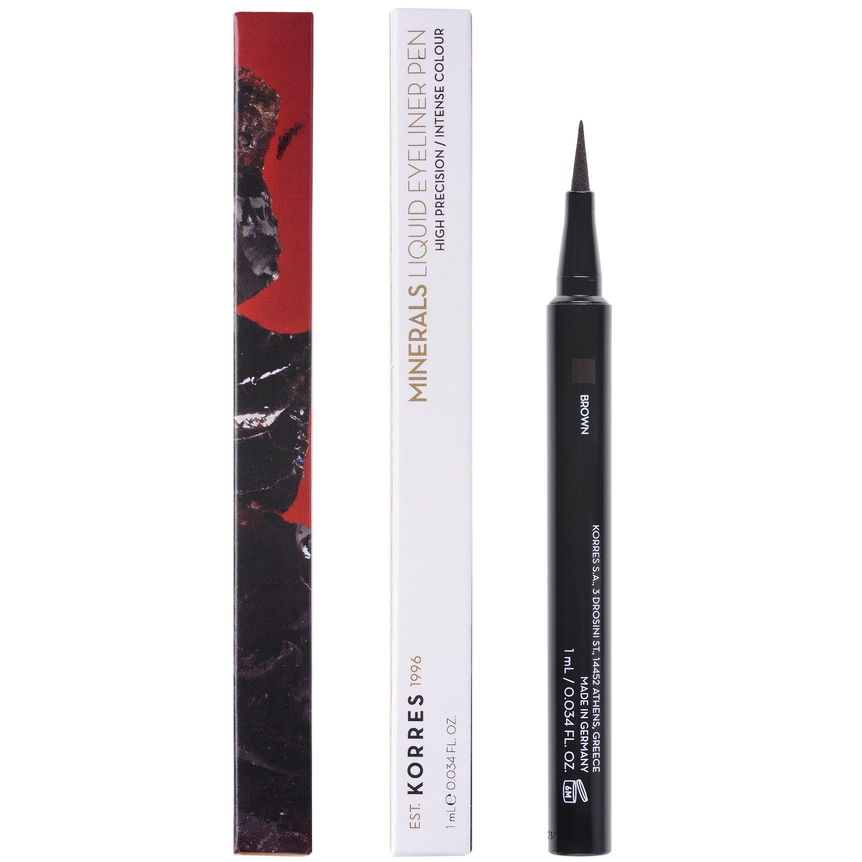 Korres Minerals Liquid Eyeliner Pen Αδιάβροχο Eyeliner για Έντονο Αποτέλεσμα & Εύκολη Ακριβή Εφαρμογή 1ml – Brown 02