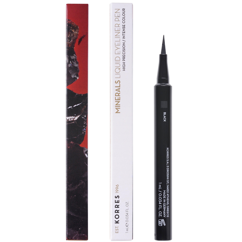 Korres Minerals Liquid Eyeliner Pen Αδιάβροχο Eyeliner για Έντονο Αποτέλεσμα & Εύκολη Ακριβή Εφαρμογή 1ml – Black 01