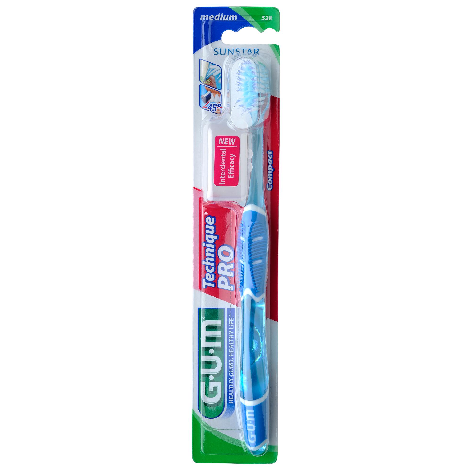 Gum Technique PRO Compact Medium Οδοντόβουρτσα με Θήκη Προστασίας (528) – μπλέ