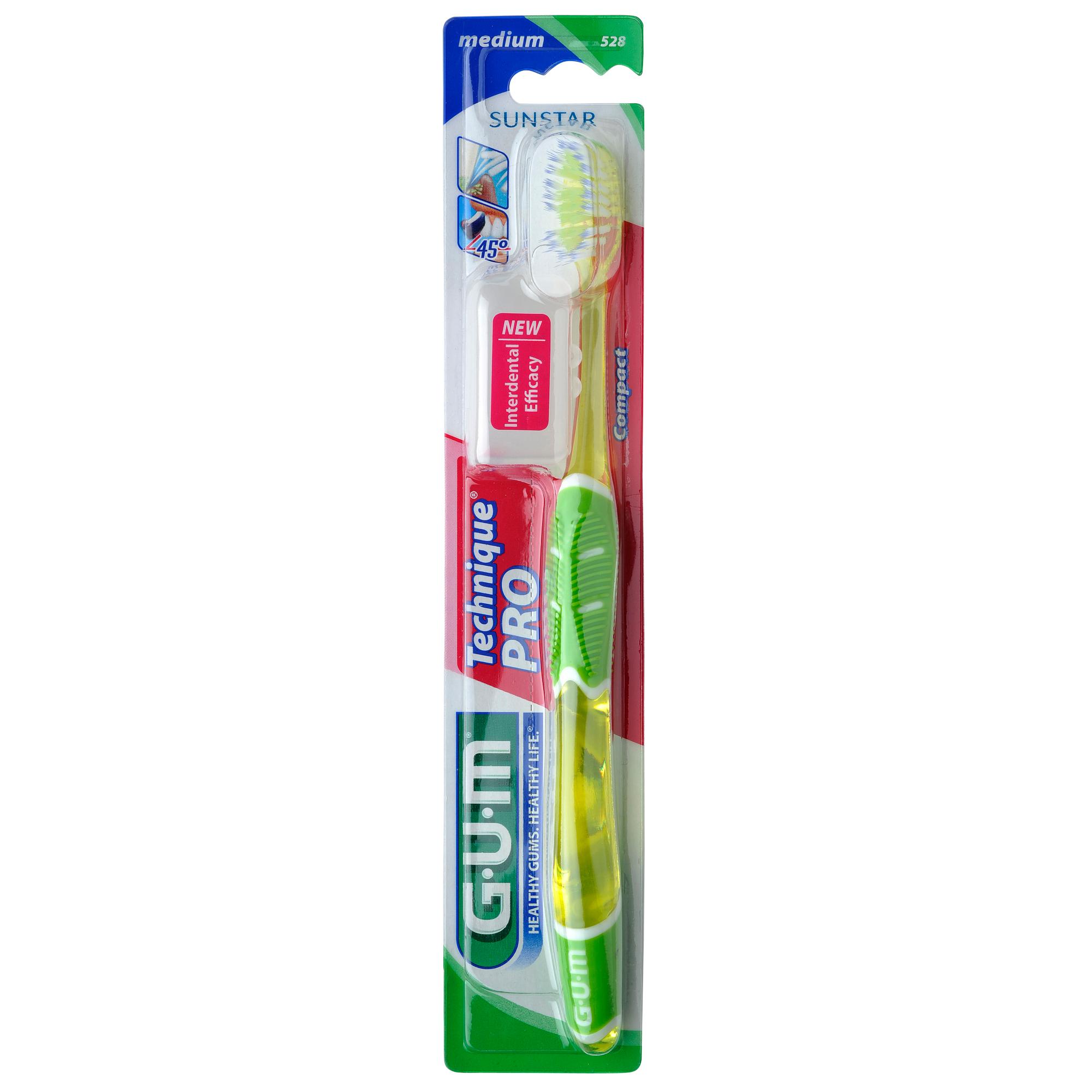 Gum Technique PRO Compact Medium Οδοντόβουρτσα με Θήκη Προστασίας (528) – πράσινο