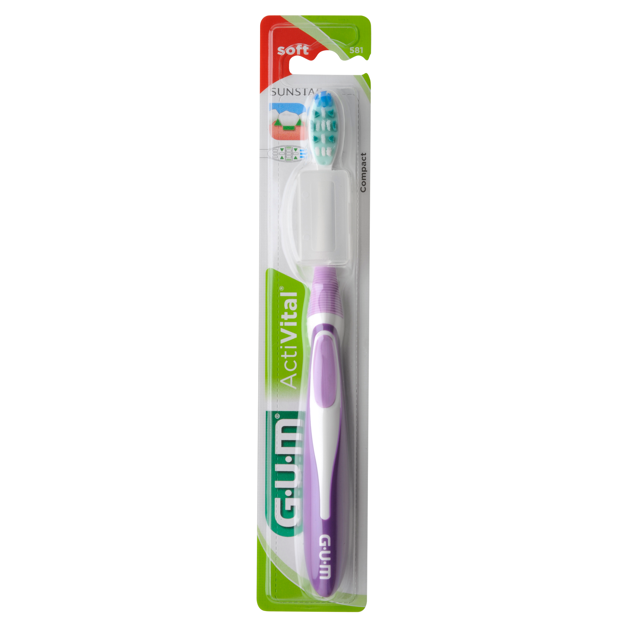 Gum ActiVital Compact Soft Οδοντόβουρτσα με Θήκη Προστασίας (581) – μωβ