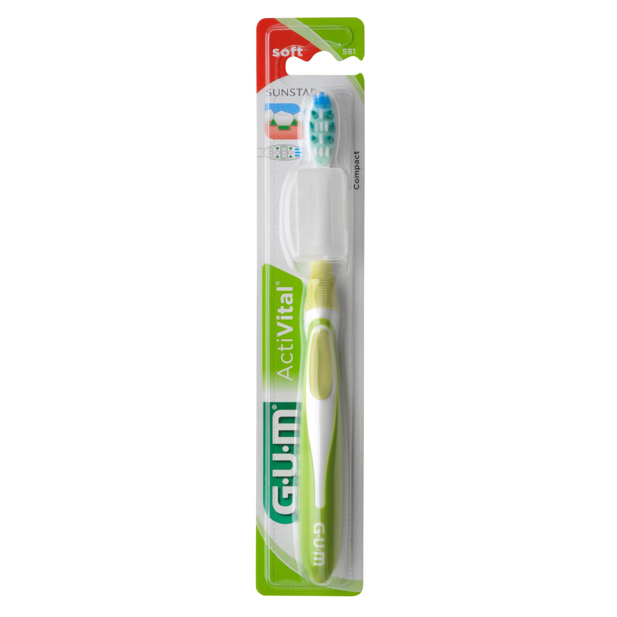 Gum ActiVital Compact Soft Οδοντόβουρτσα με Θήκη Προστασίας (581) – πράσινο