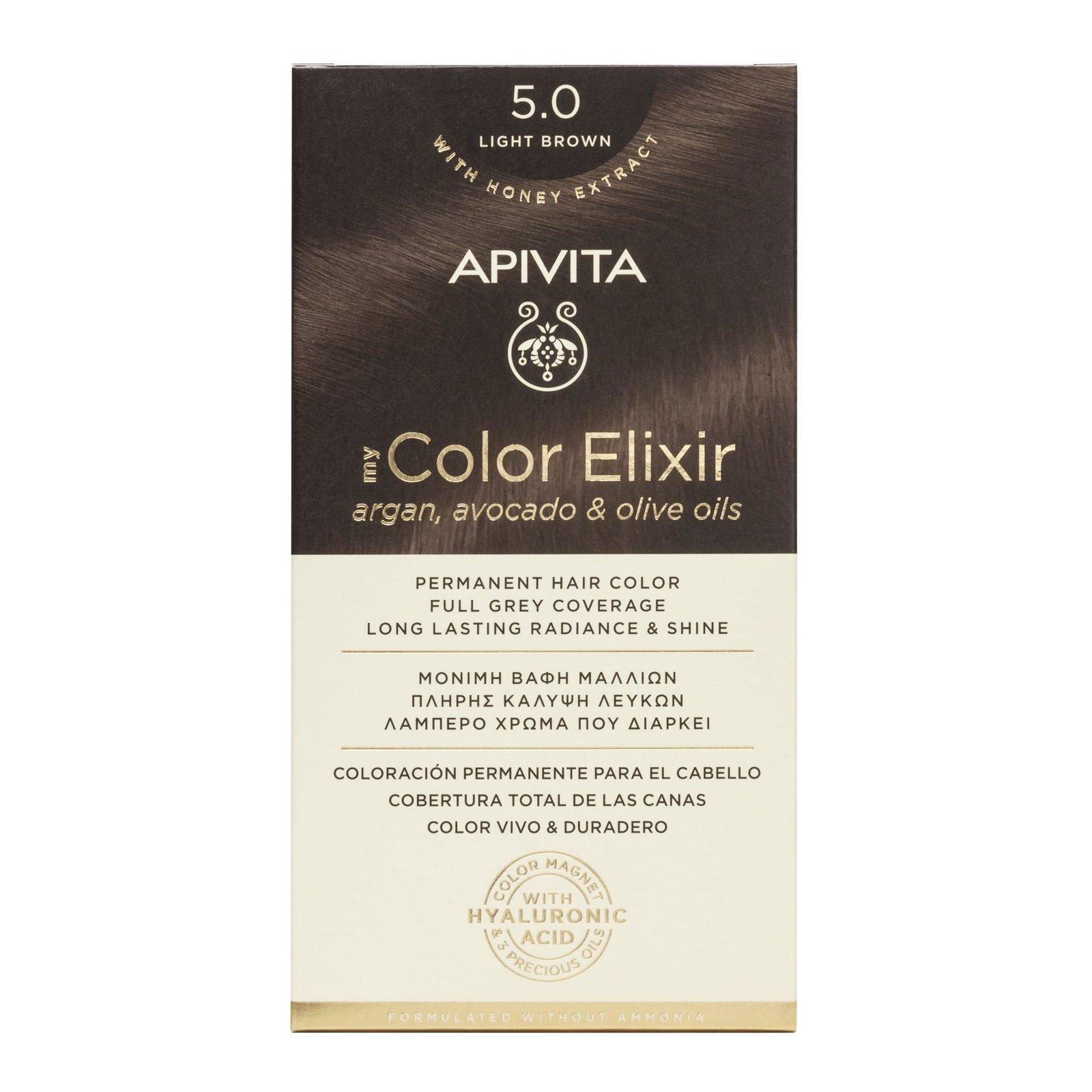 Apivita My Color Elixir Μόνιμη Βαφή Μαλλιών με Καινοτόμο Σύστημα Color Magnet που Σταθεροποιεί και Σφραγίζει το Χρώμα στην Τρίχα – N 5.0 ΚΑΣΤΑΝΟ ΑΝΟΙΧΤΟ