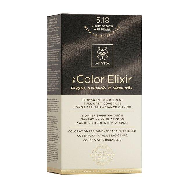 Apivita My Color Elixir Μόνιμη Βαφή Μαλλιών με Καινοτόμο Σύστημα Color Magnet που Σταθεροποιεί και Σφραγίζει το Χρώμα στην Τρίχα – N 5.18 ΚΑΣΤΑΝΟ ΑΝΟΙΧΤΟ