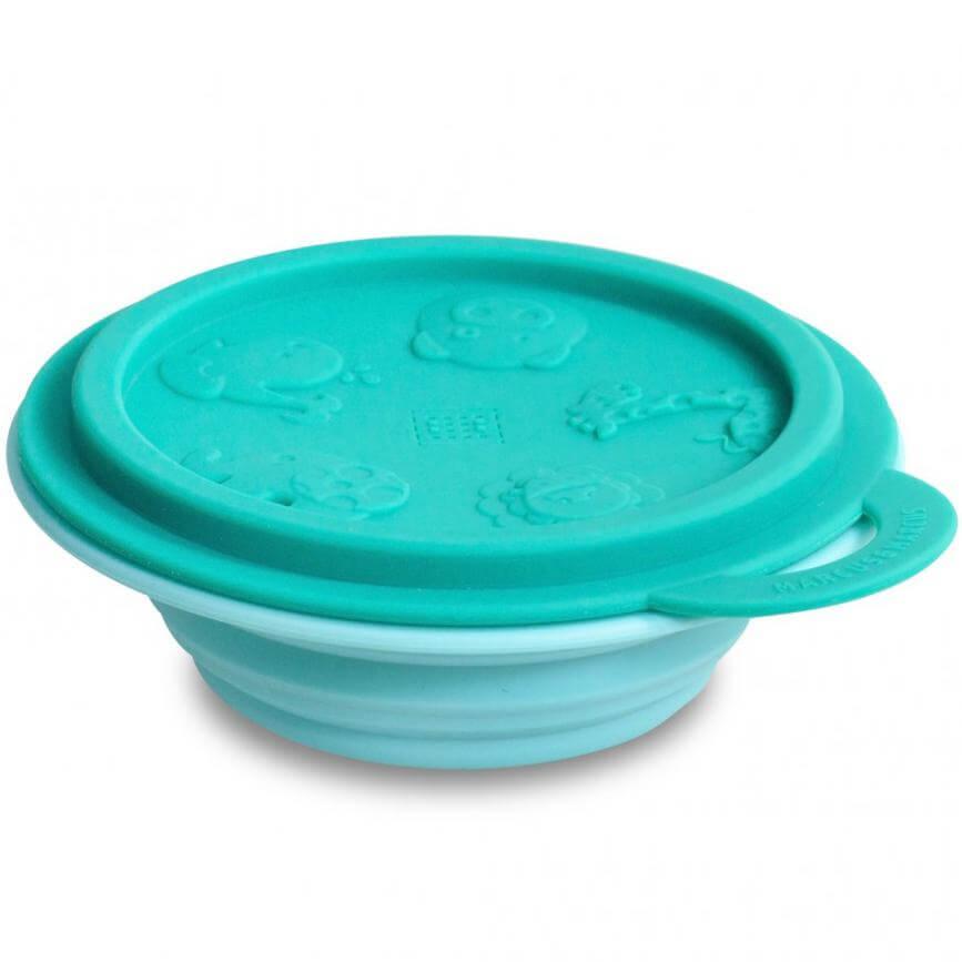 Marcus & Marcus Collapsible Bowl Μπολ Πτυσσόμενο Σιλικόνης με Καπάκι Φύλαξης – Πράσινο – Γαλάζιο