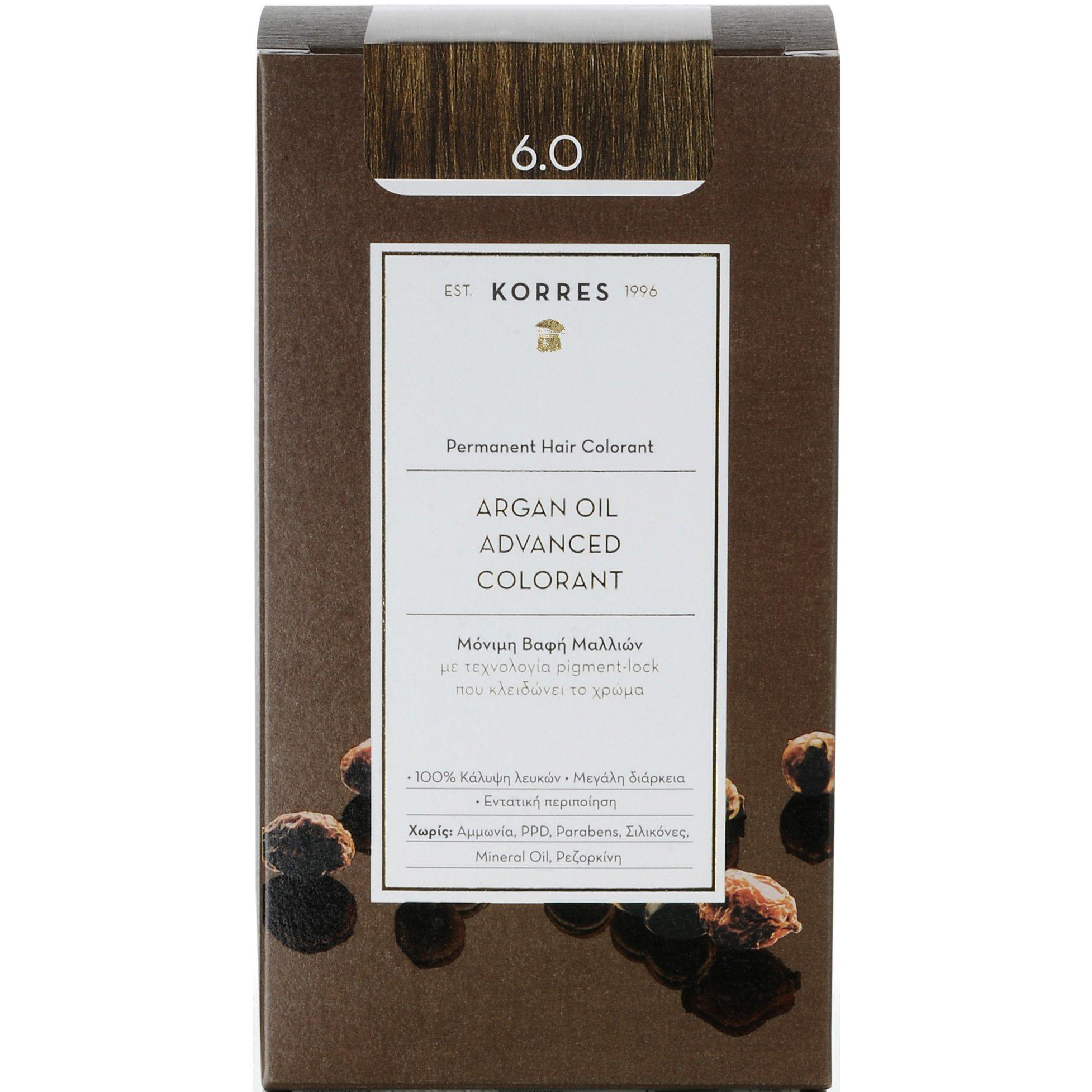Korres Argan Oil Advanced Colorant Μόνιμη Βαφή Μαλλιών με Τεχνολογία Pigment-Lock που Κλειδώνει το Χρώμα 50ml – 6.0 ΞΑΝΘΟ ΣΚΟΥΡΟ ΦΥΣΙΚΟ