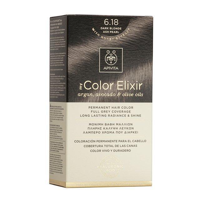 Apivita My Color Elixir Μόνιμη Βαφή Μαλλιών με Καινοτόμο Σύστημα Color Magnet που Σταθεροποιεί και Σφραγίζει το Χρώμα στην Τρίχα – N 6.18 ΞΑΝΘΟ ΣΚΟΥΡΟ ΣΑΝΤΡΕ