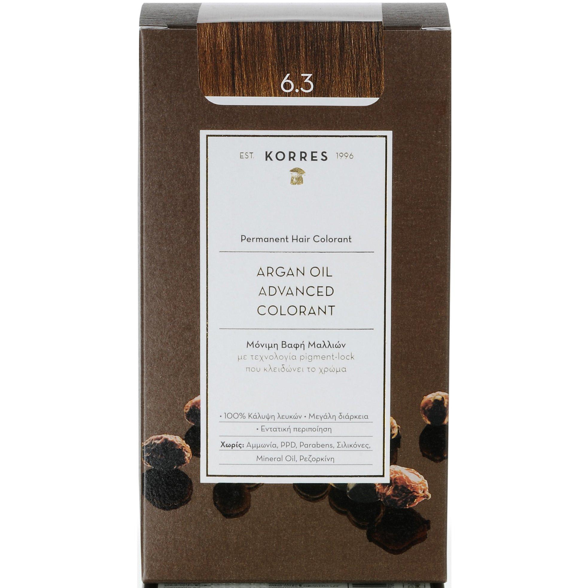 Korres Argan Oil Advanced Colorant Μόνιμη Βαφή Μαλλιών με Τεχνολογία Pigment-Lock που Κλειδώνει το Χρώμα 50ml – 6.3 ΞΑΝΘΟ ΣΚΟΥΡΟ ΜΕΛΙ