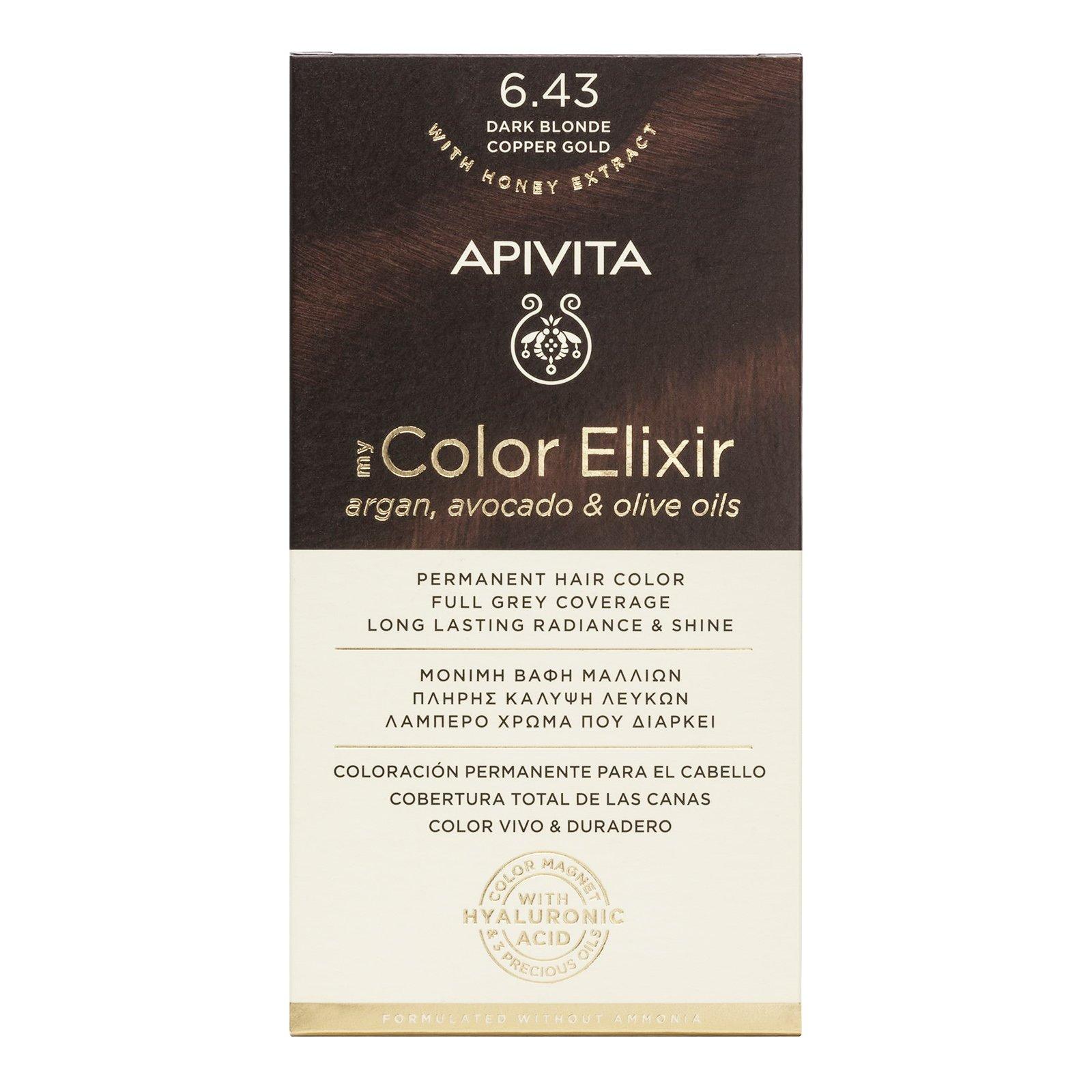 Apivita My Color Elixir Μόνιμη Βαφή Μαλλιών με Καινοτόμο Σύστημα Color Magnet που Σταθεροποιεί και Σφραγίζει το Χρώμα στην Τρίχα – N 6.43 ΞΑΝΘΟ ΣΚΟΥΡΟ ΧΑΛΚΙΝΟ ΜΕΛΙ