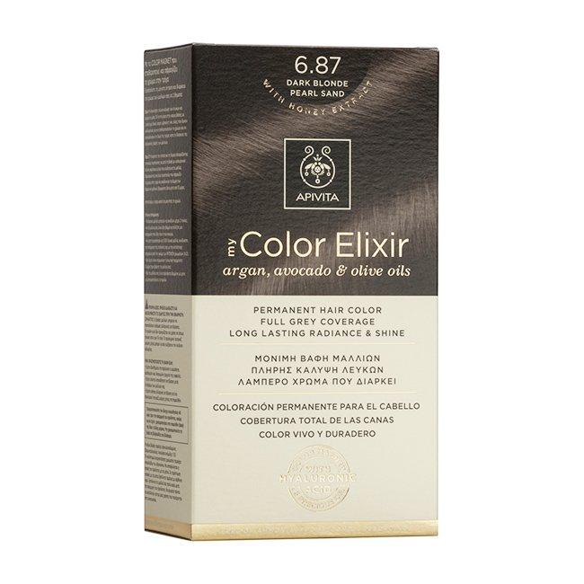 Apivita My Color Elixir Μόνιμη Βαφή Μαλλιών με Καινοτόμο Σύστημα Color Magnet που Σταθεροποιεί και Σφραγίζει το Χρώμα στην Τρίχα – N6.87 ΞΑΝΘΟ ΣΚΟΥΡΟ ΠΕΡΛΕ