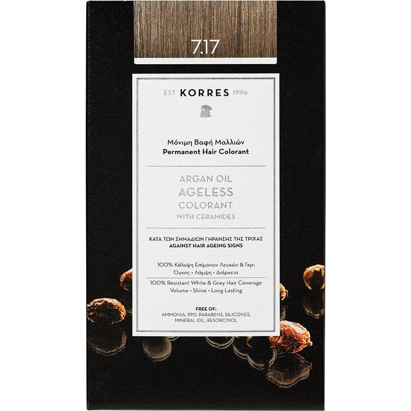 Korres Argan Oil Ageless Colorant with Ceramides Μόνιμη Βαφή Μαλλιών 50ml – 7.17Ξανθό Μπεζ