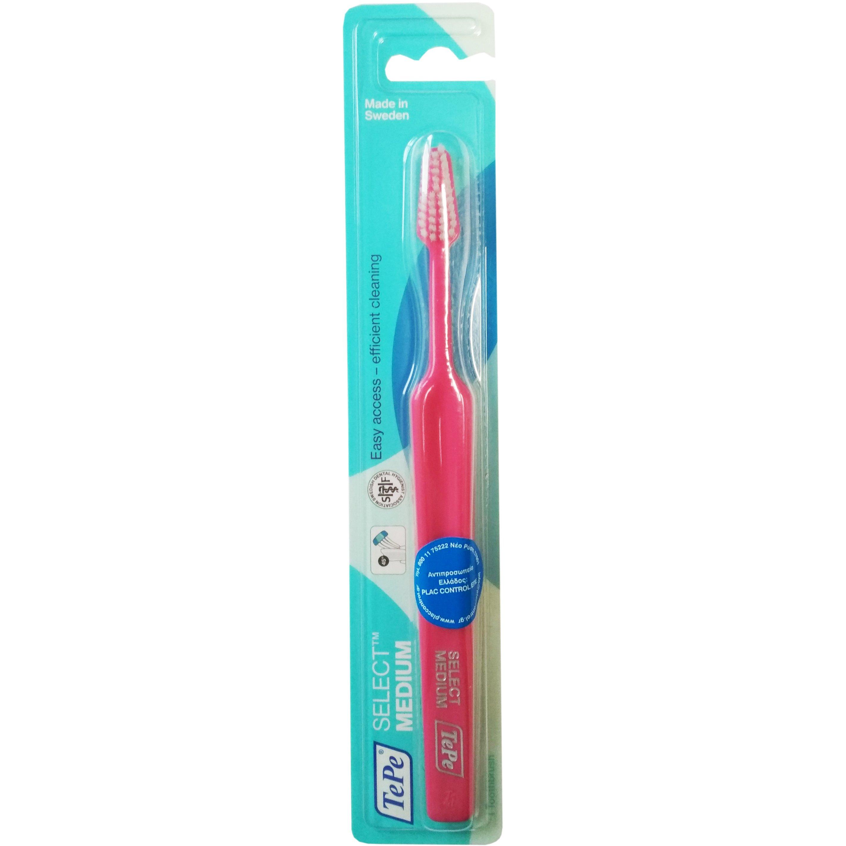 Tepe Select Medium Οδοντόβουρτσα Μέτρια για Εύκολη Πρόσβαση στα Πίσω Δόντια & Αποτελεσματικό Καθαρισμό 1 Τεμάχιο – φούξια