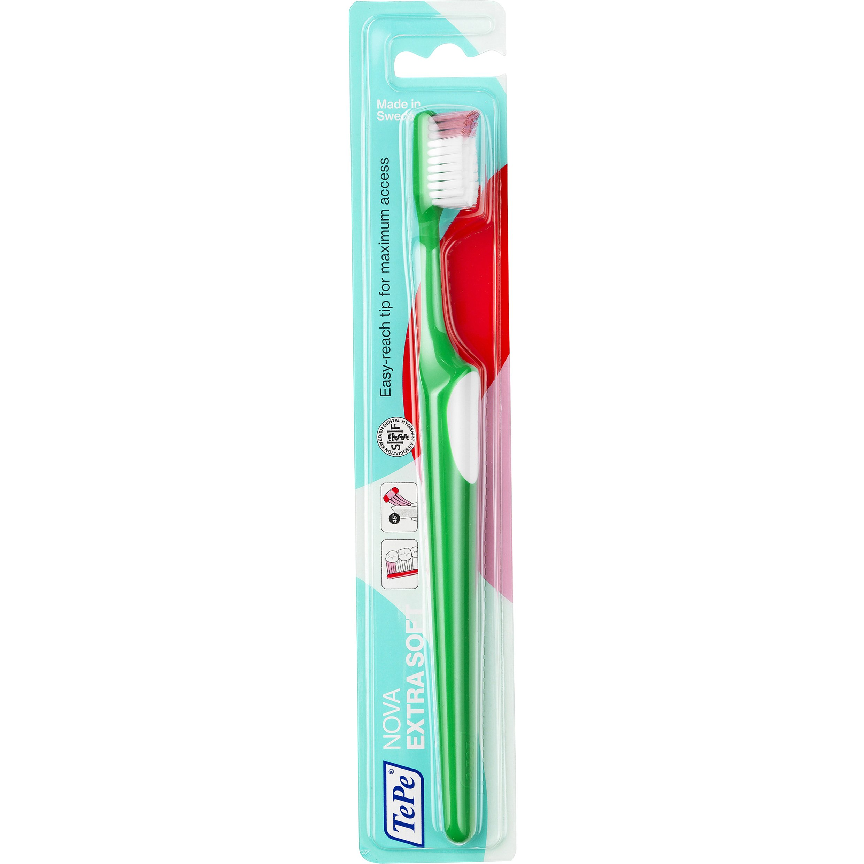 TePe Nova Extra Soft Οδοντόβουρτσα Πολύ Μαλακή, με Ειδικό Άκρο για Εύκολη Πρόσβαση στα Πίσω Δόντια 1 Τεμάχιο – πράσινο