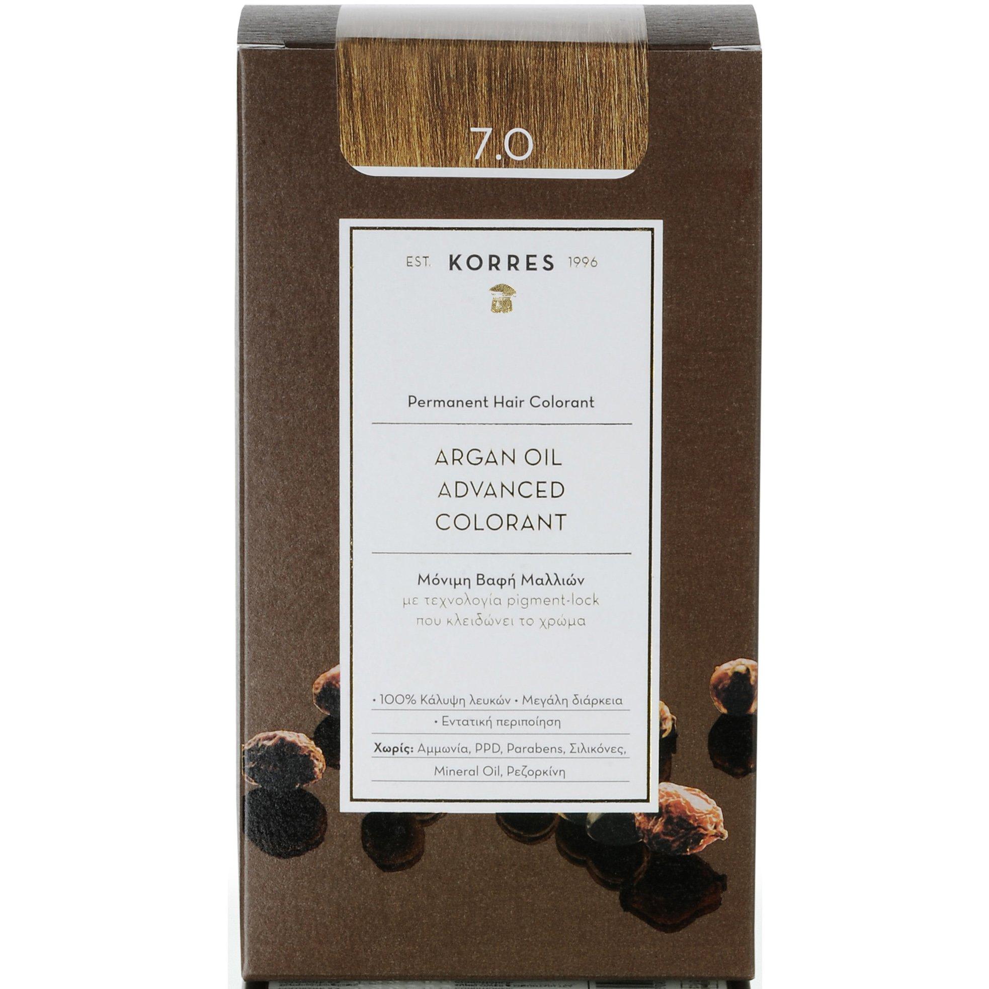 Korres Argan Oil Advanced Colorant Μόνιμη Βαφή Μαλλιών με Τεχνολογία Pigment-Lock που Κλειδώνει το Χρώμα 50ml – 7.0 ΞΑΝΘΟ ΦΥΣΙΚΟ
