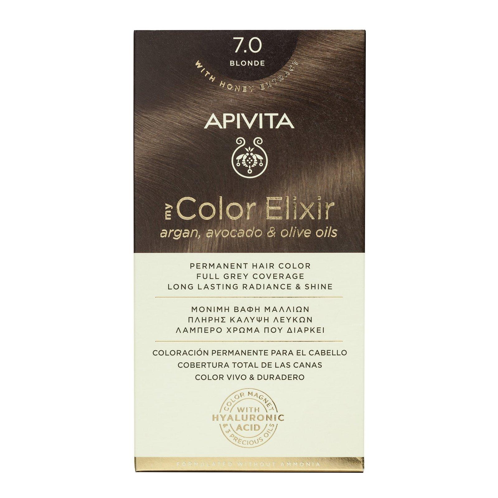 Apivita My Color Elixir Μόνιμη Βαφή Μαλλιών με Καινοτόμο Σύστημα Color Magnet που Σταθεροποιεί και Σφραγίζει το Χρώμα στην Τρίχα – N7.0 ΦΥΣΙΚΟ ΞΑΝΘΟ