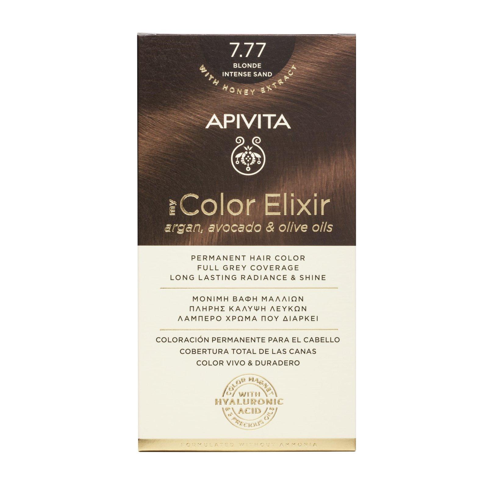 Apivita My Color Elixir Μόνιμη Βαφή Μαλλιών με Καινοτόμο Σύστημα Color Magnet που Σταθεροποιεί και Σφραγίζει το Χρώμα στην Τρίχα – N 7.77 ΞΑΝΘΟ ΕΝΤΟΝΟ ΜΠΕΖ