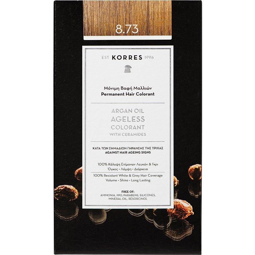 Korres Argan Oil Ageless Colorant with Ceramides Μόνιμη Βαφή Μαλλιών 50ml – 8.73 Χρυσή Καραμέλα
