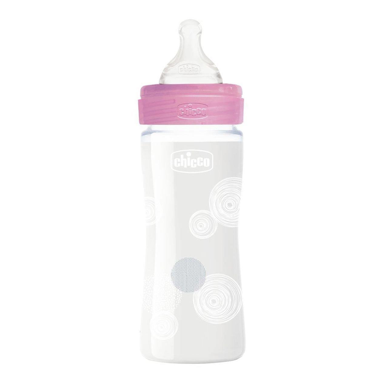 Chicco Well Being Anti Colic System Γυάλινο Μπιμπερό Χωρίς BPA με Σύστημα Κατά των Κολικών, Θηλή Σιλικόνης 0+ Μηνών 240ml – ροζ