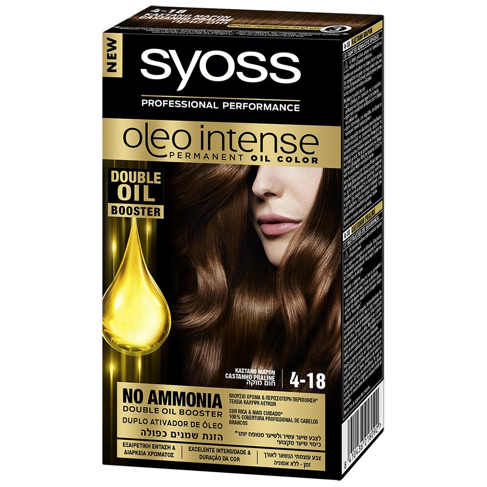 Syoss Oleo Επαγγελματική Μόνιμη Κρέμα Βαφή – 4-18 Καστανό Μαρόν