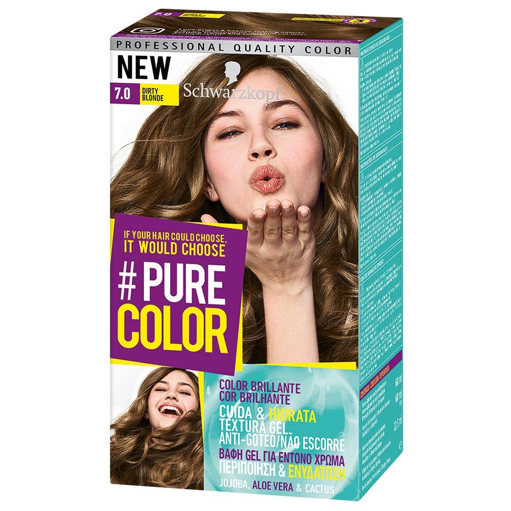 Schwarzkopf Pure Color Επαγγελματική Μόνιμη Βαφή Gel Μαλλιών, Έντονο Χρώμα που Διαρκεί, Πλούσια Περιποίηση & Ενυδάτωση – 7.0 Dirty Blonde