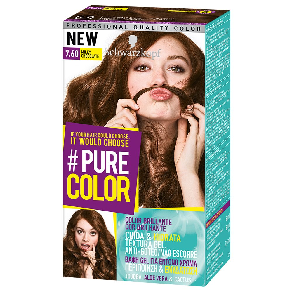 Schwarzkopf Pure Color Επαγγελματική Μόνιμη Βαφή Gel Μαλλιών, Έντονο Χρώμα που Διαρκεί, Πλούσια Περιποίηση & Ενυδάτωση – 7.60 Milky Chocolate