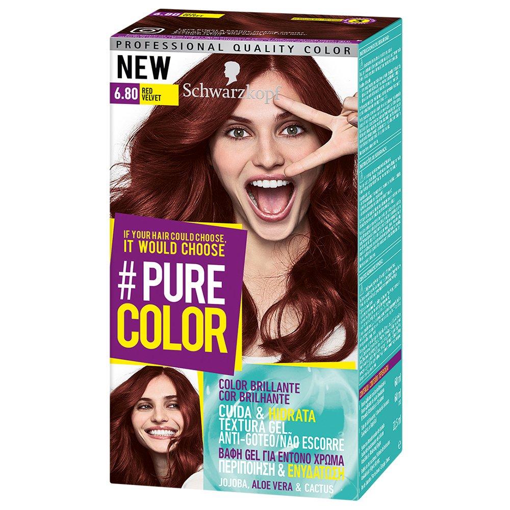 Schwarzkopf Pure Color Επαγγελματική Μόνιμη Βαφή Gel Μαλλιών, Έντονο Χρώμα που Διαρκεί, Πλούσια Περιποίηση & Ενυδάτωση – 6.80 Red Velvet