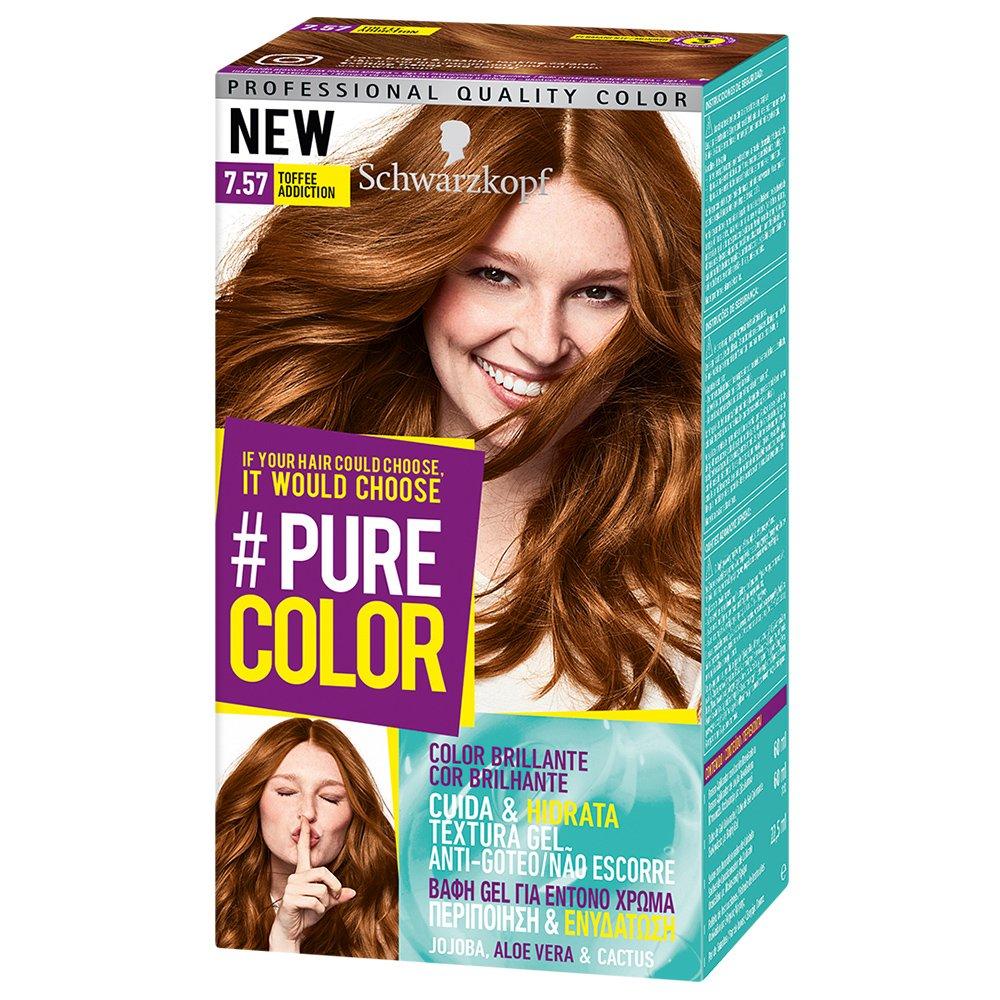 Schwarzkopf Pure Color Επαγγελματική Μόνιμη Βαφή Gel Μαλλιών, Έντονο Χρώμα που Διαρκεί, Πλούσια Περιποίηση & Ενυδάτωση – 7.57 Toffee Addiction