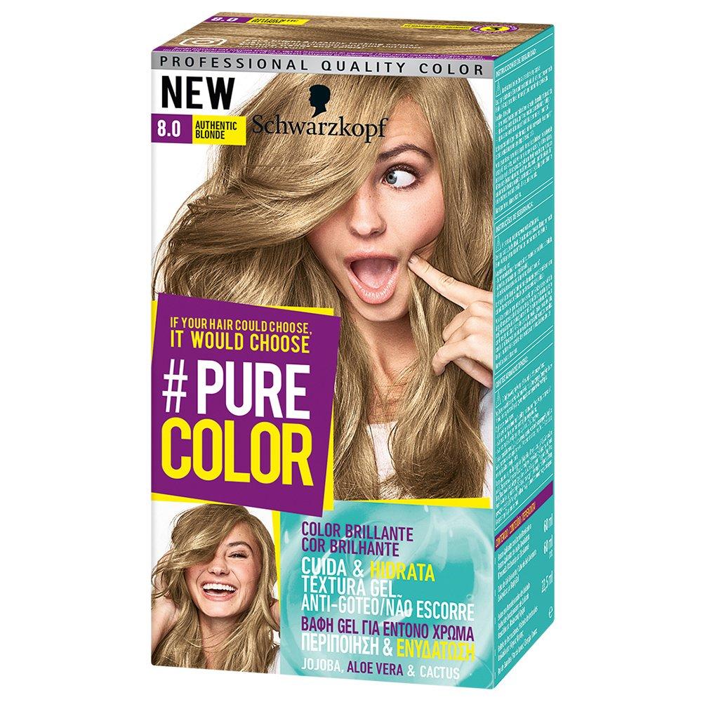 Schwarzkopf Pure Color Επαγγελματική Μόνιμη Βαφή Gel Μαλλιών, Έντονο Χρώμα που Διαρκεί, Πλούσια Περιποίηση & Ενυδάτωση – 8.0 Authentic Blonde