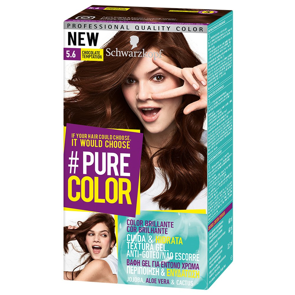 Schwarzkopf Pure Color Επαγγελματική Μόνιμη Βαφή Gel Μαλλιών, Έντονο Χρώμα που Διαρκεί, Πλούσια Περιποίηση & Ενυδάτωση – 5.6 Chocolate Temptation