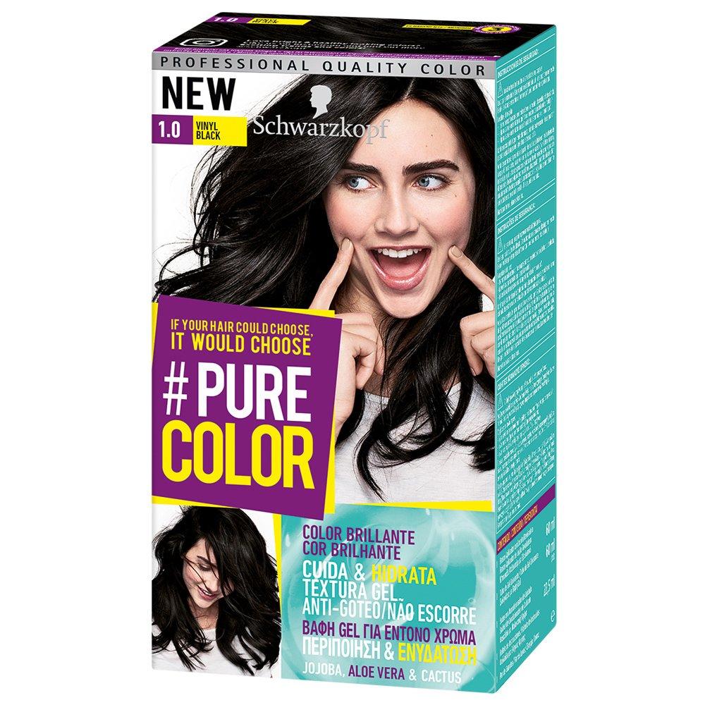 Schwarzkopf Pure Color Επαγγελματική Μόνιμη Βαφή Gel Μαλλιών, Έντονο Χρώμα που Διαρκεί, Πλούσια Περιποίηση & Ενυδάτωση – 1.0 Vinyl Black