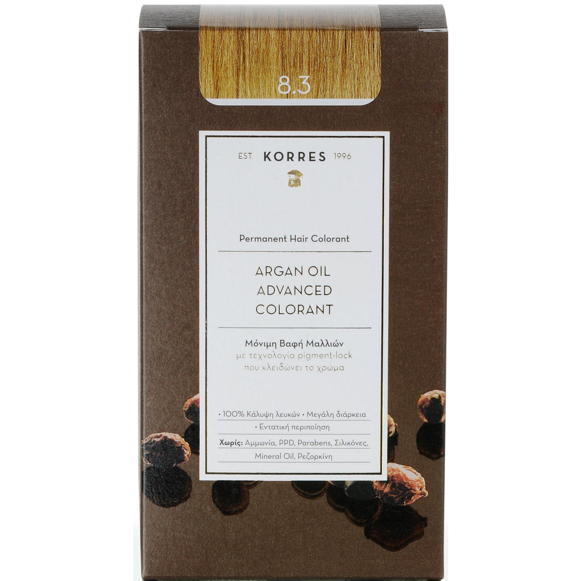 Korres Argan Oil Advanced Colorant Μόνιμη Βαφή Μαλλιών με Τεχνολογία Pigment-Lock που Κλειδώνει το Χρώμα 50ml – 8.3 ΞΑΝΘΟ ΑΝΟΙΧΤΟ ΜΕΛΙ