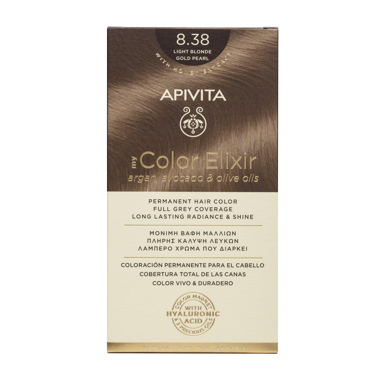 Apivita My Color Elixir Μόνιμη Βαφή Μαλλιών με Καινοτόμο Σύστημα Color Magnet που Σταθεροποιεί και Σφραγίζει το Χρώμα στην Τρίχα – N 8.38 ΞΑΝΘΟ ΑΝΟΙΧΤΟ ΜΕΛΙ ΠΕΡΛΕ