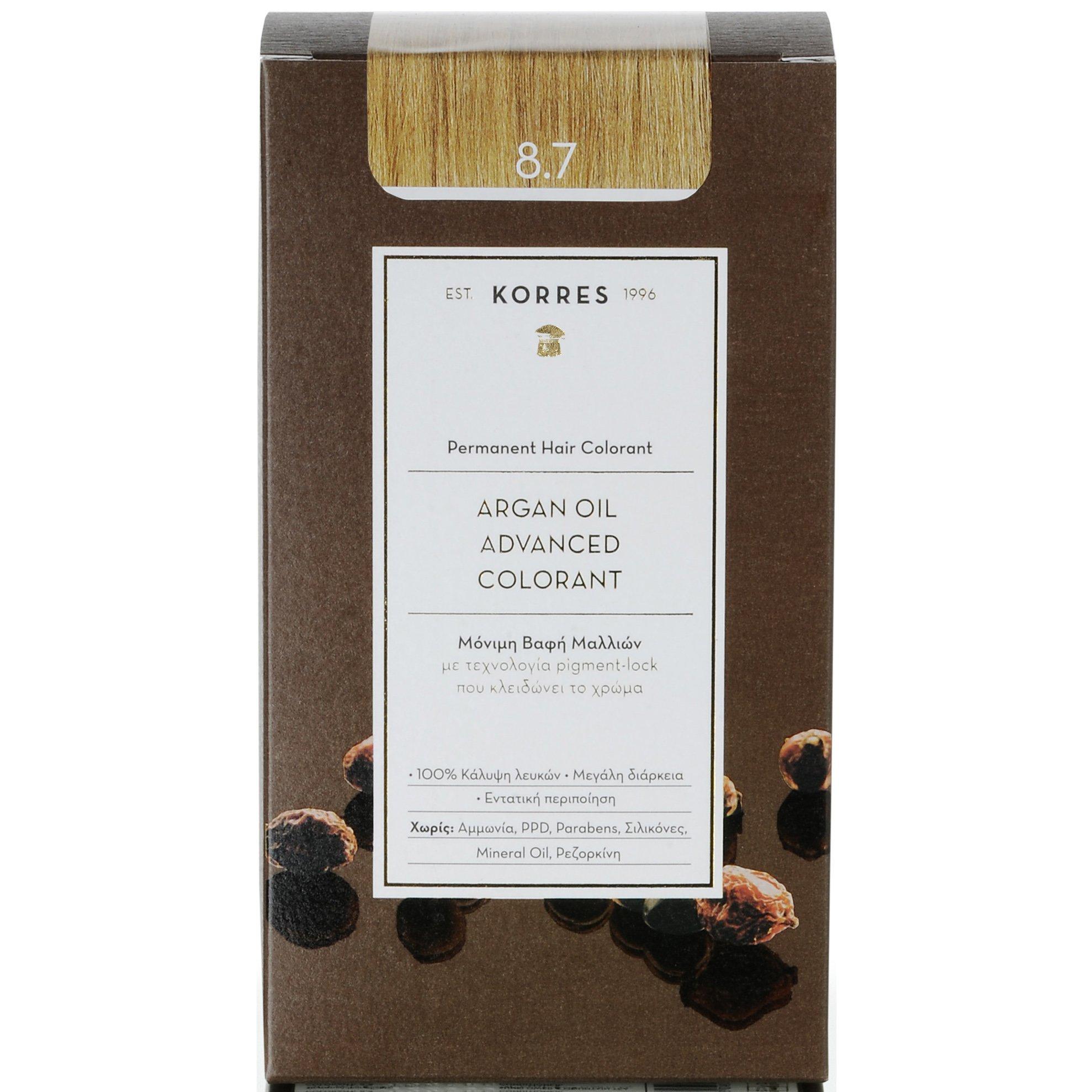 Korres Argan Oil Advanced Colorant Μόνιμη Βαφή Μαλλιών με Τεχνολογία Pigment-Lock που Κλειδώνει το Χρώμα 50ml – 8.7 ΚΑΡΑΜΕΛΑ