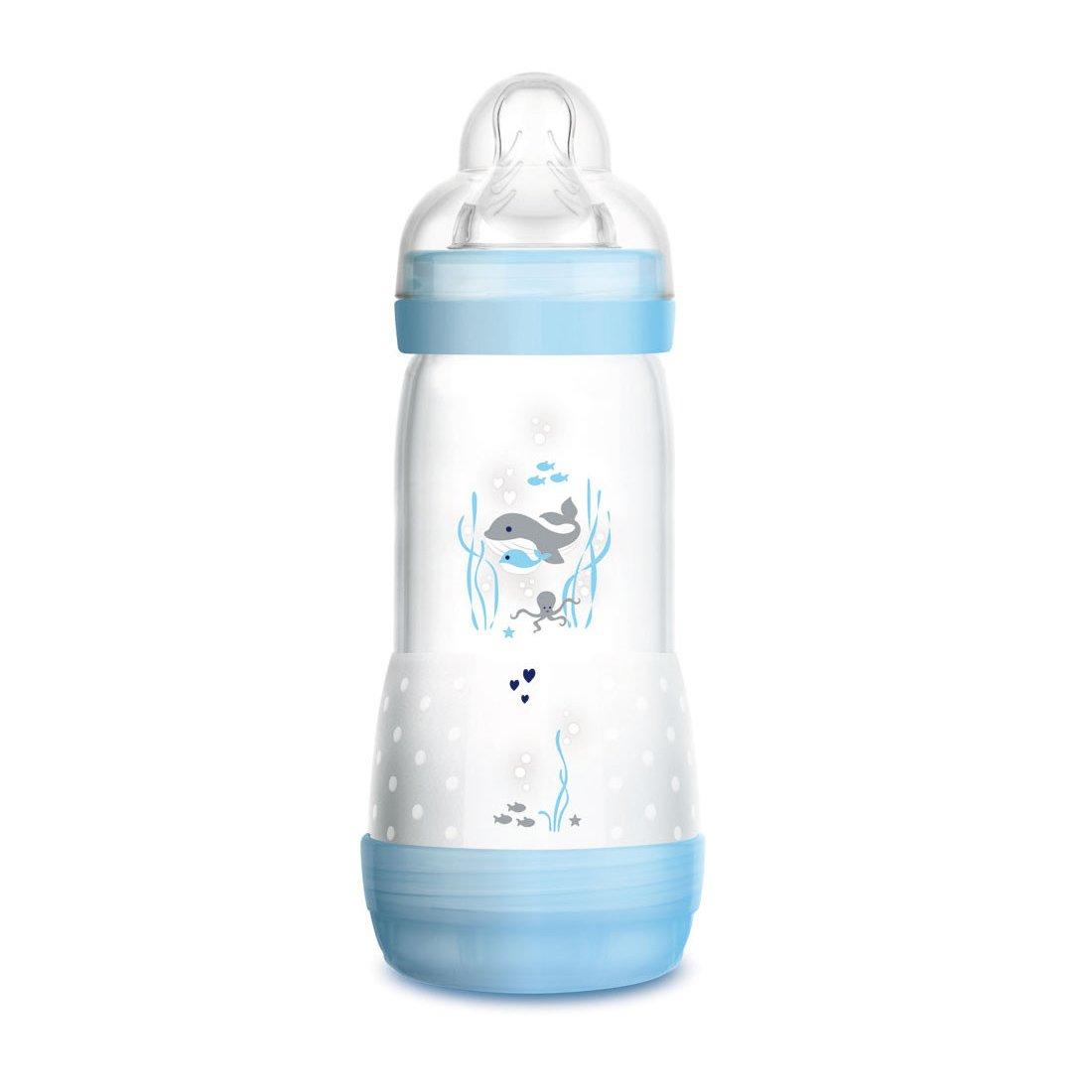 Mam Easy Start™ Anti-Colic 4+ Μηνών, Κωδ 356S Μπιμπερό Πολυπροπυλενίου με Θηλή Σιλικόνης & Σύστημα Κατά των Κολικών 320ml – μπλέ