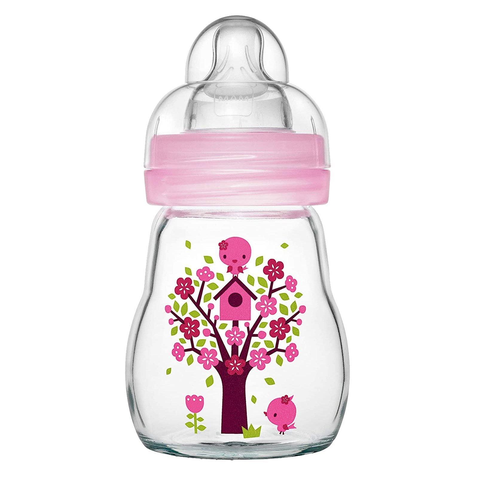 Mam Feel Good Κωδ 370S1 Γυάλινο Μπιμπερό με Θηλή Σιλικόνης από 0+ Μηνών & Δώρο μια Επιπλέον Θηλή Σιλικόνης 2+ Μηνών, 170ml – ροζ