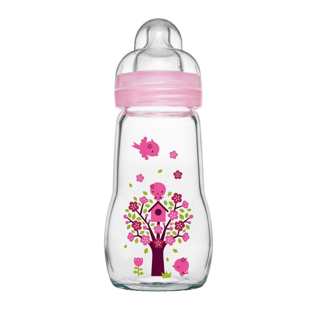 Mam Feel Good Κωδ 375S1 Γυάλινο Μπιμπερό με Θηλή Σιλικόνης από 2+ Μηνών & Δώρο μια Επιπλέον Θηλή Σιλικόνης 4+ Μηνών, 260ml – ροζ