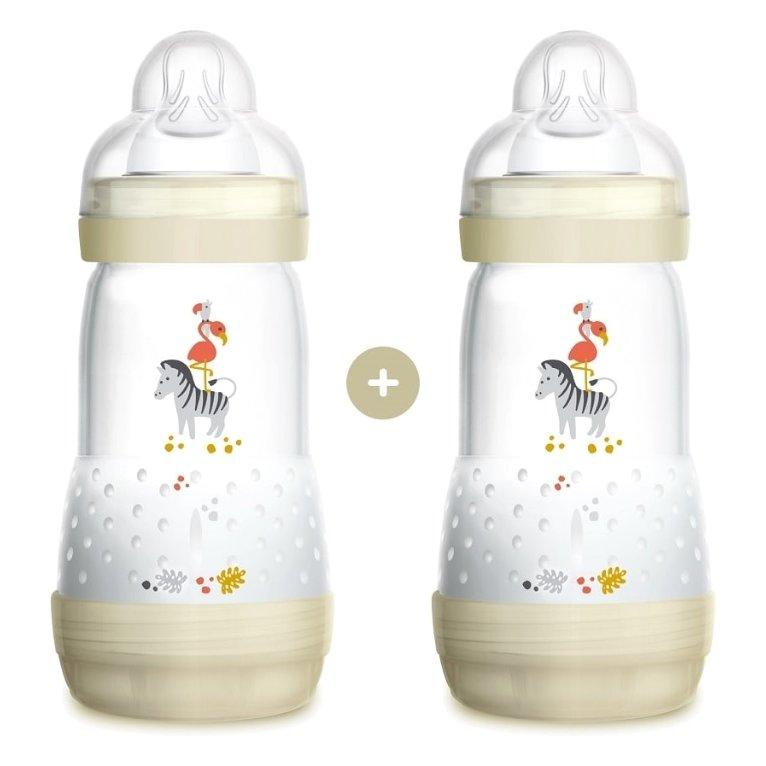 Mam Promo Pack Easy Start™ Anti-Colic Nature Safari 2+ Μηνών Κωδ 355S Μπιμπερό Πολυπροπυλενίου με Θηλή Σιλικόνης 2x260ml – άσπρο