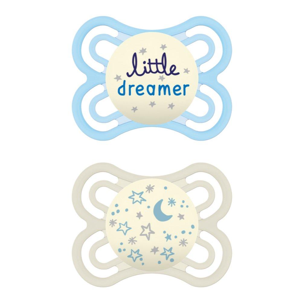 Mam Perfect Night Ορθοδοντική Πιπίλα Σιλικόνης Κωδ 136S από 2 Έως 6 Μηνών 2 Τεμάχια – Γαλάζιο – Λευκό