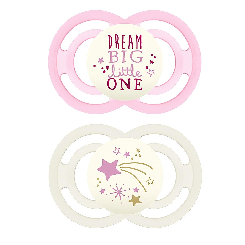 Mam Perfect Night Ορθοδοντική Πιπίλα Σιλικόνης Κωδ 226S από 6 Έως 16 Μηνών 2 Τεμάχια – Ροζ – Λευκό