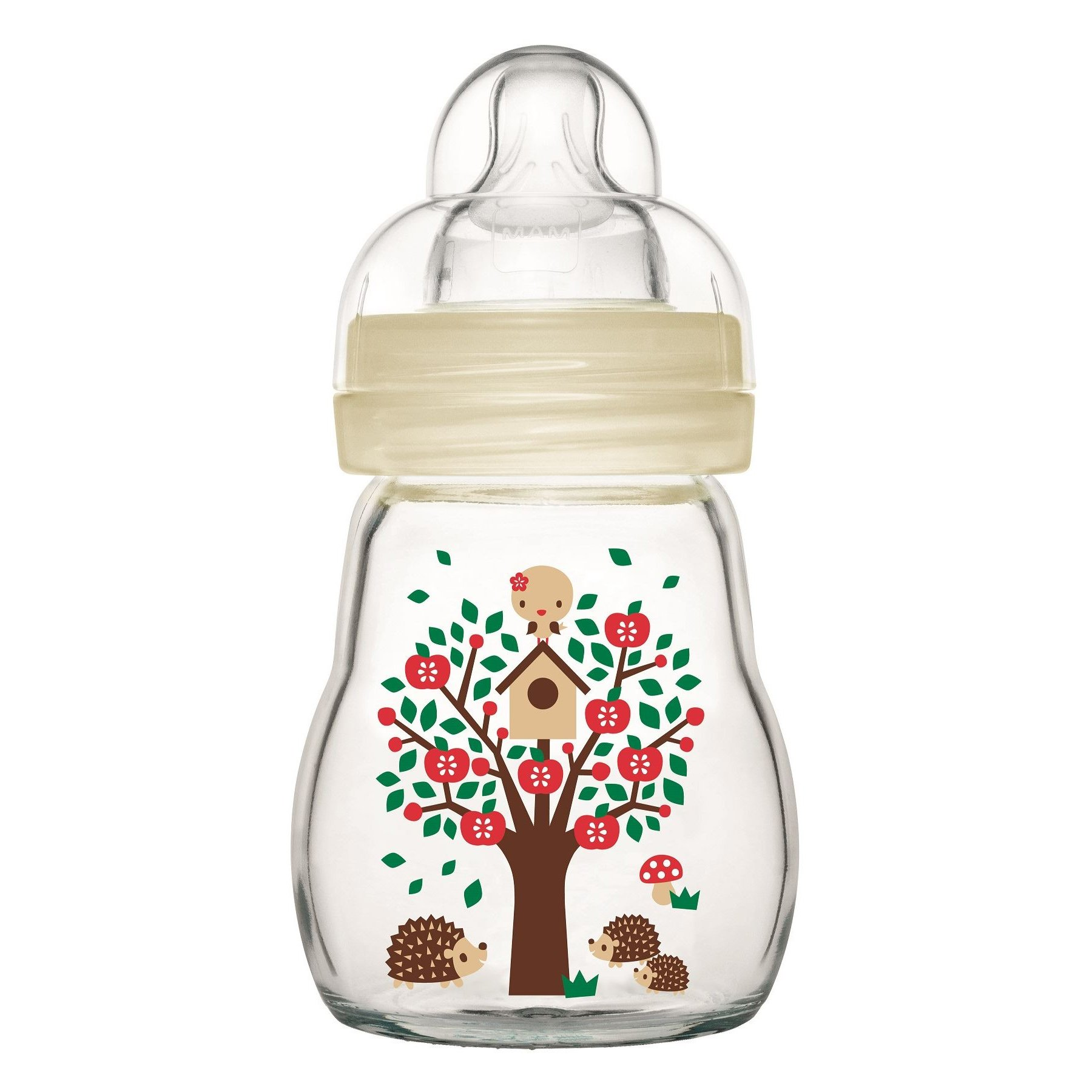 Mam Feel Good Κωδ 370S1 Γυάλινο Μπιμπερό με Θηλή Σιλικόνης από 0+ Μηνών & Δώρο μια Επιπλέον Θηλή Σιλικόνης 2+ Μηνών, 170ml – άσπρο