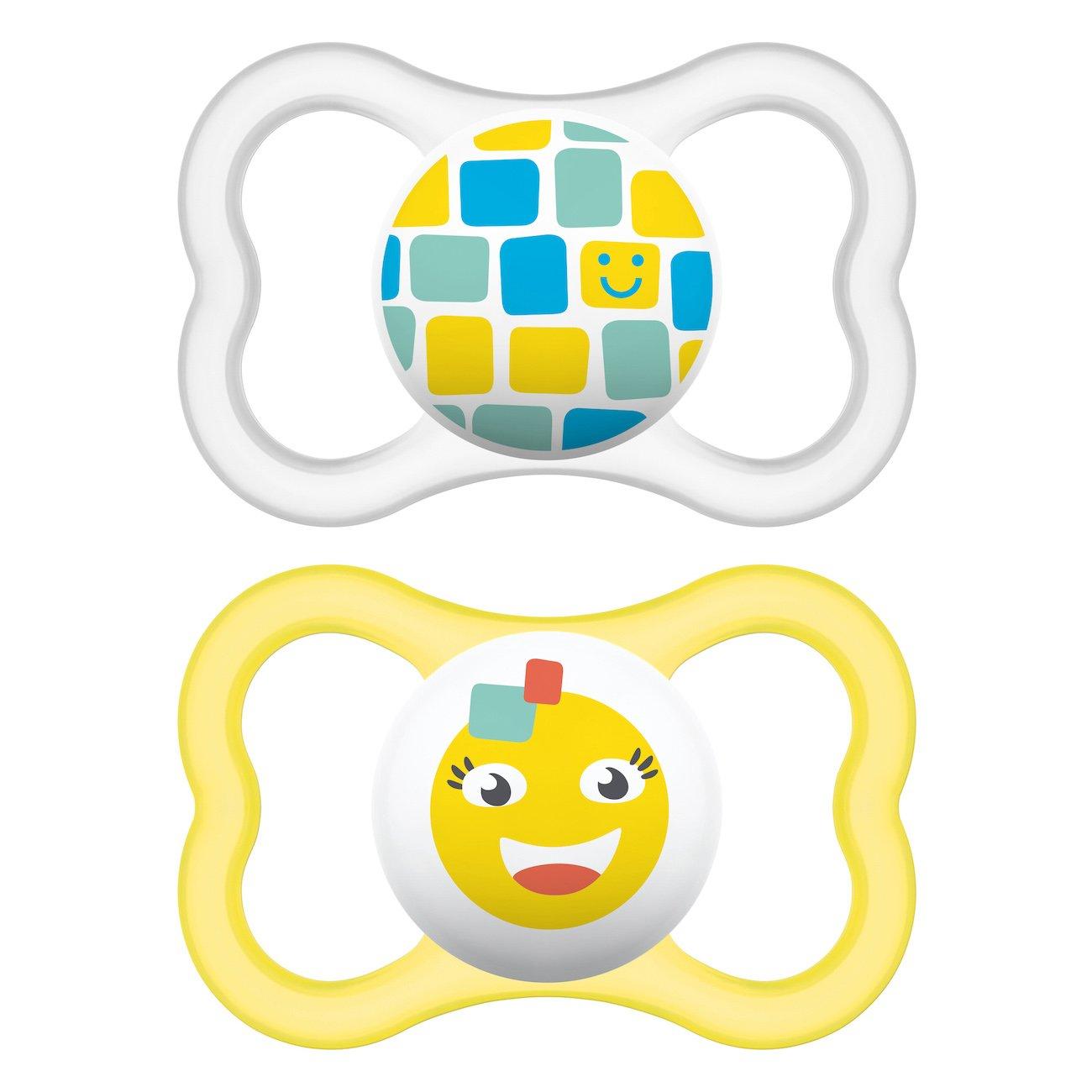 Mam Air Ορθοδοντική Πιπίλα Καουτσούκ Κωδ 276L από 16+ Μηνών 2 Τεμάχια – Κίτρινο-Διάφανο