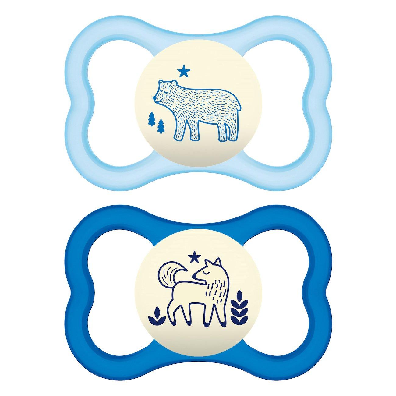 Mam Air Night Animal Ορθοδοντική Πιπίλα Σιλικόνης που Λάμπει στο Σκοτάδι Κωδ 277S από 16+ Μηνών 2 Τεμάχια – Γαλάζιο – Μπλε