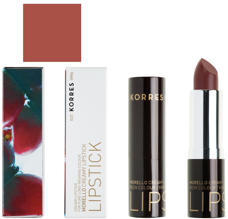 Korres Morello Creamy Lipstick Σταθερό & Λαμπερό Aποτέλεσμα 3.5gr – 34 ΚΑΦΕ ΜΟΚΑ