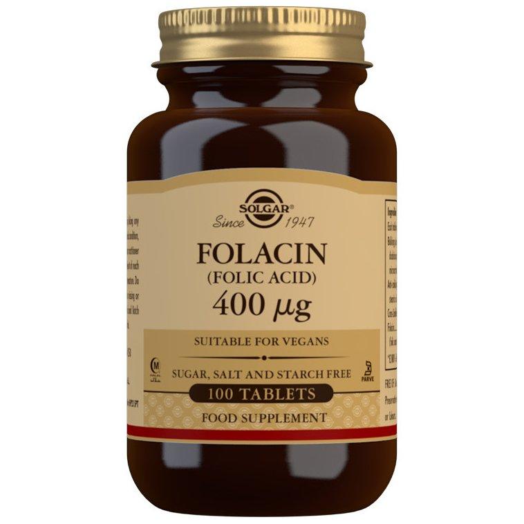 Solgar Folacin (Folic Acid) Συμπλήρωμα Διατροφής Χρήσιμο σε Περιπτώσεις Αναιμίας Λόγω Έλλειψης Φολικού Οξέως 100tablets – 400μg