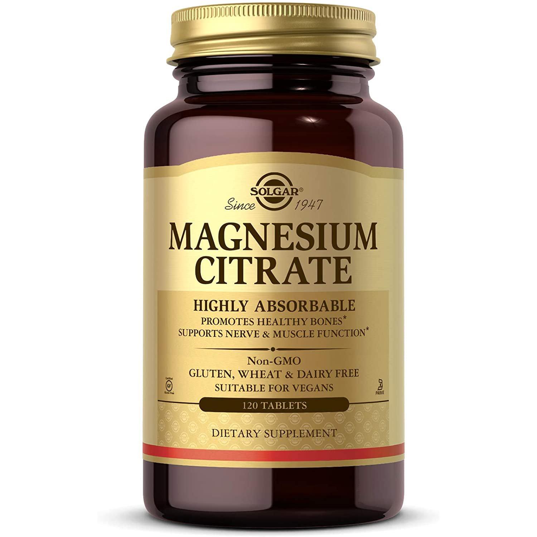 Solgar Magnesium Citrate Συμπλήρωμα Διατροφής που Παρέχει την Υψηλότερη Απορρόφηση Μαγνησίου Από τον Οργανισμό 200mg tabs – 120 tabs