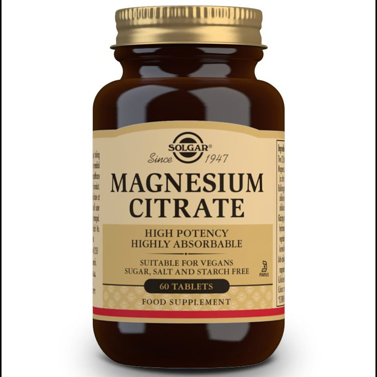 Solgar Magnesium Citrate Συμπλήρωμα Διατροφής που Παρέχει την Υψηλότερη Απορρόφηση Μαγνησίου Από τον Οργανισμό 200mg tabs – 60 tabs