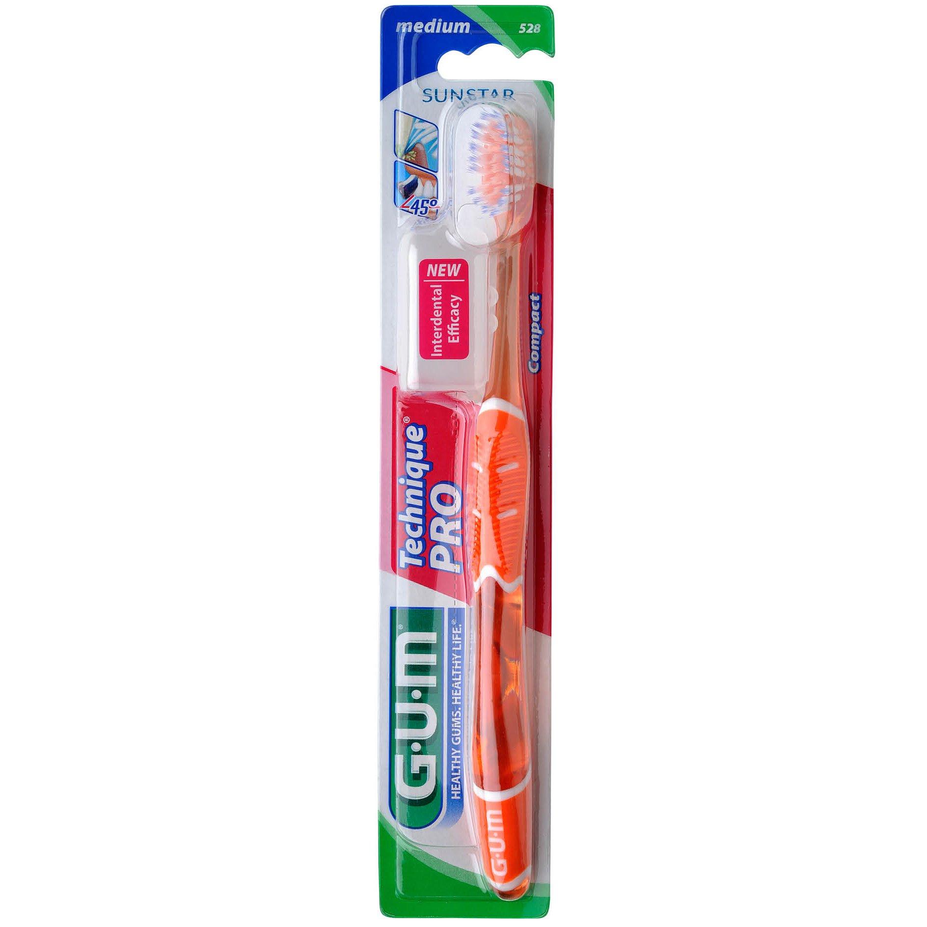 Gum Technique PRO Compact Soft Οδοντόβουρτσα με Θήκη Προστασίας (525) – πορτοκαλί