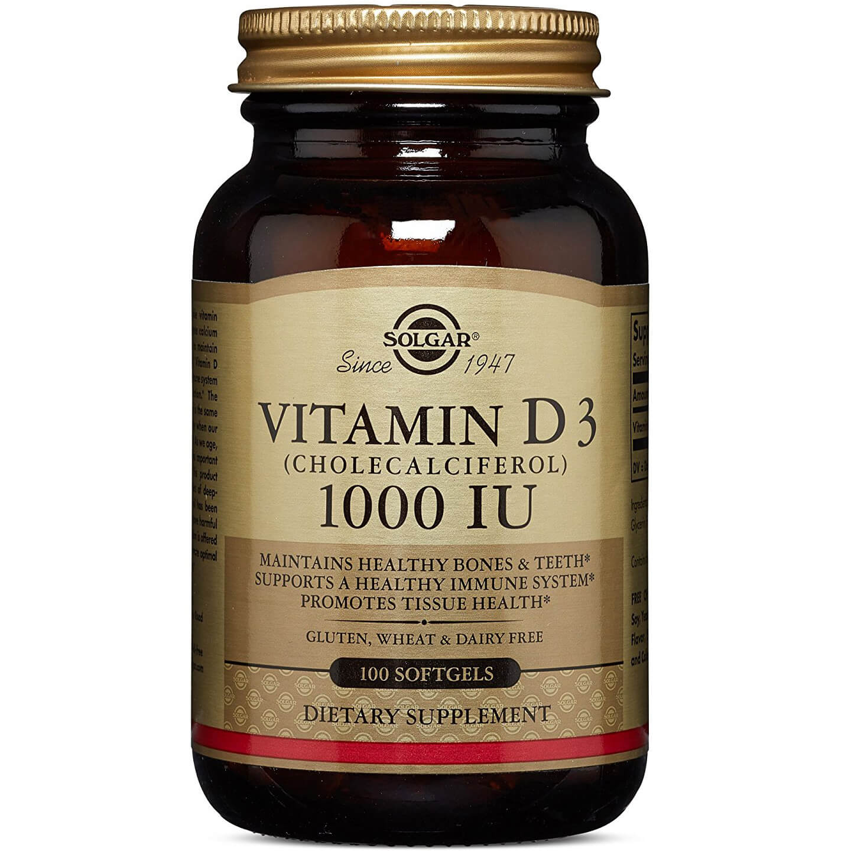 Solgar Vitamin D3 Συμπλήρωμα Διατροφής για την ΟμαλήΑπορρόφηση του Ασβεστίου απο τον Οργανισμό&την Ενίσχυση του Ανοσ/κου tabs – 1000 iu 100softgels
